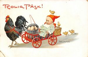 Jenny-Nystrom-Easter-Rooster-Pulls-Baby-in-Red-Wagon-Egg-Bucket-Chicks