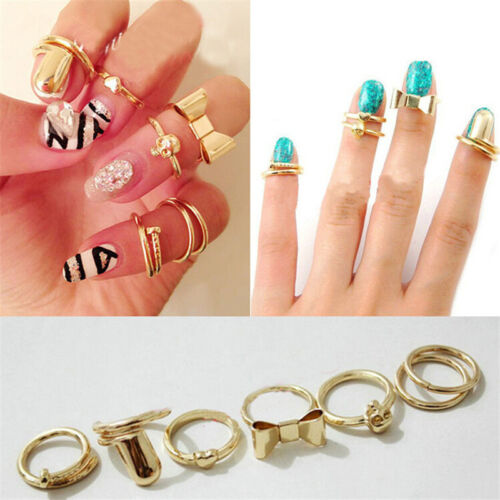 7Pcs Punk Gold Color Skull Bowknot Heart Nail Simple Middle Finger Top Rings RS