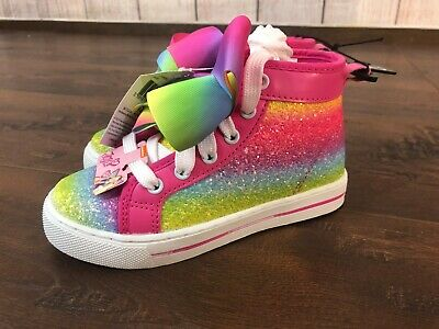 Jojo Siwa Glitter rainbow Bow Shoes High Top Sneakers Sizes  11 13 12 1