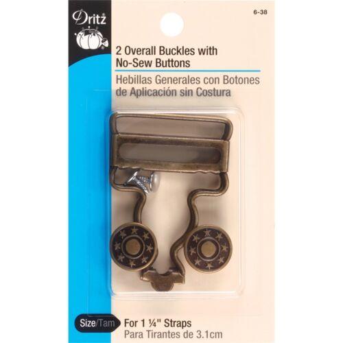 """Dritz Global Boucles Avec No-Sew boutons de 1-1//4/"""" Sangles-laiton antique 4//pkg"""