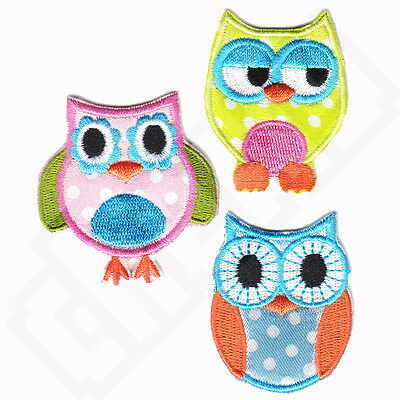 SET OF 3 Vintage Style OWL Iron Sew On Embroidered Patch Motif Applique Badge