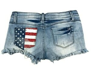 Special A Shorts Womens Small S Blue Jean Denim Daisy Dukes Cut Off Distressed