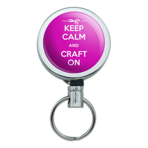 Metal Retractable Reel ID Badge Key Card Holder with Belt Clip Keep Calm and A-H