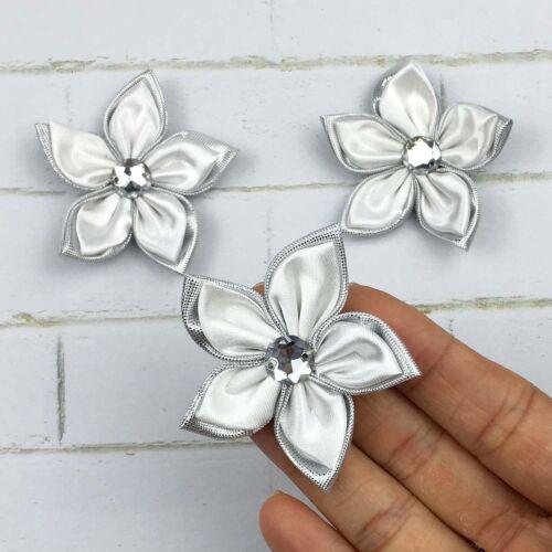 DIY 10-100PCS Satin Ribbon Flower Crystal Bead Appliques Wedding Decoration @24