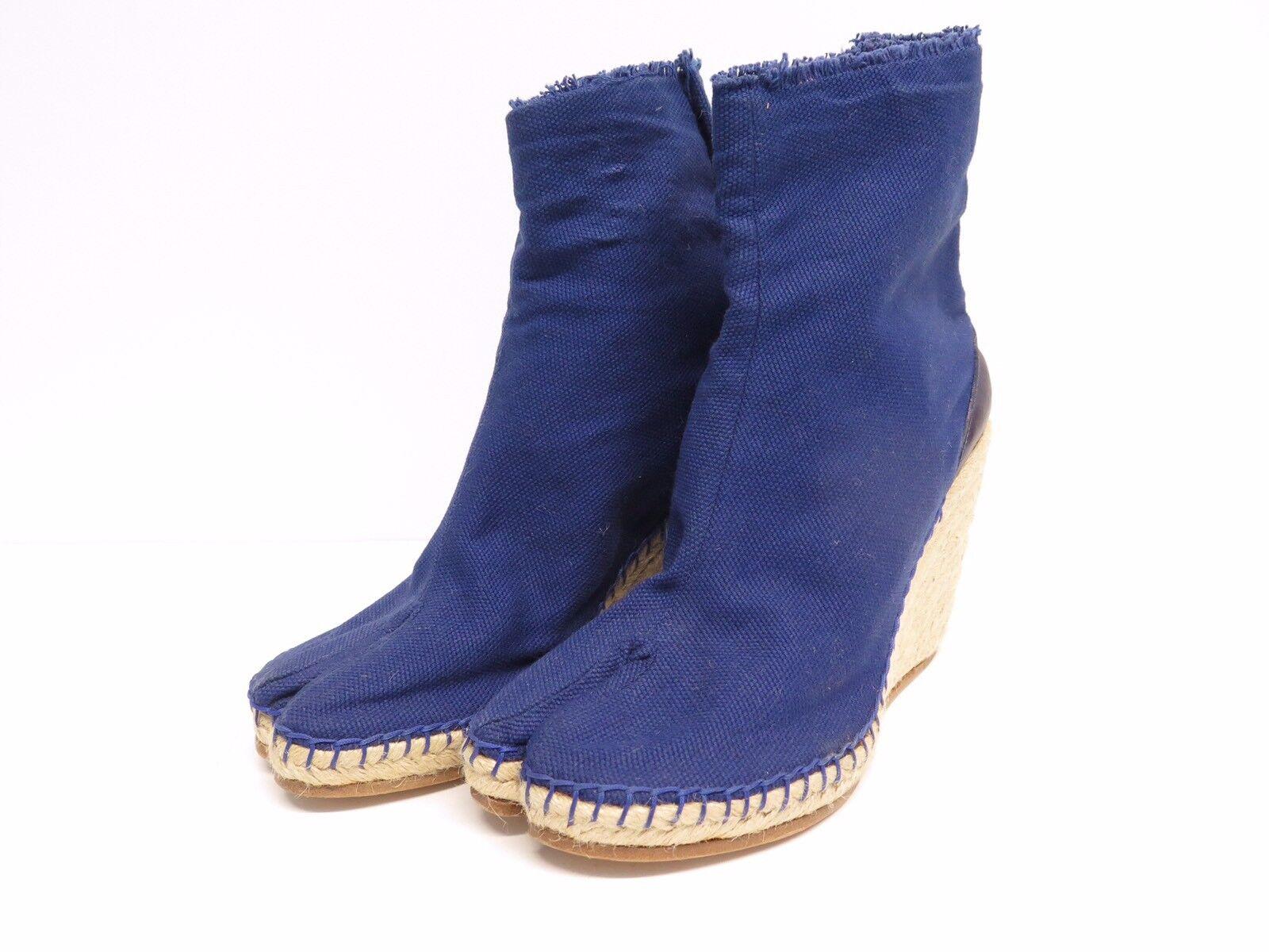Maison Martin Margiela 22 Blue Canvas Wedge Tabi Espadrille Boots Sz 36
