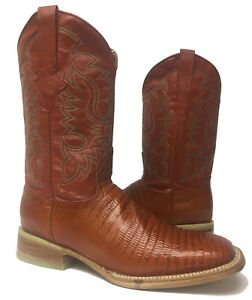 New-Mens-Cognac-Brown-Lizard-Armadillo-Leather-Western-Rodeo-Cowboy-Boots-Size-9