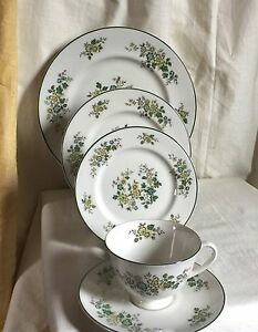 Royal-Doulton-034-Campagna-034-5-piece-set-1970-039-s-china-Flower-bouquets-green-trim