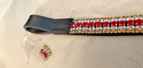 42 Or Rouge /& Perle Cristal Diadème Noir Ou Marron Poney S//N Full HORSE
