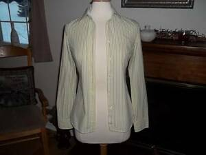 SIZE-0-JUNIOR-39-95-AMERICAN-EAGLE-OUTFITTERS-Yellow-Striped-FAVORITE-Shirt