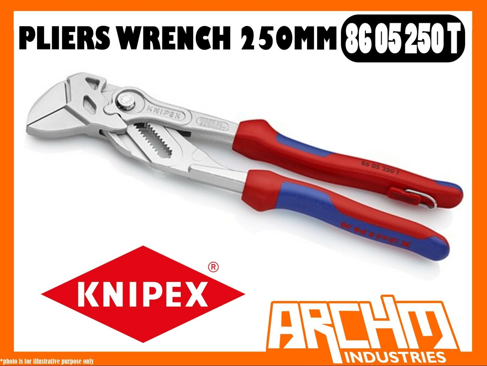 KNIPEX 8605250T - PLIERS WRENCH - 250MM - TETHERED CHROME ADJUSTABLE TIGHTENING