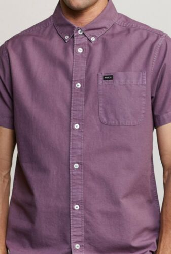 NWT RVCA $55 That/'ll Do Butter Button-Up Shirt SS M509TRTB Pirate Black//Lavender