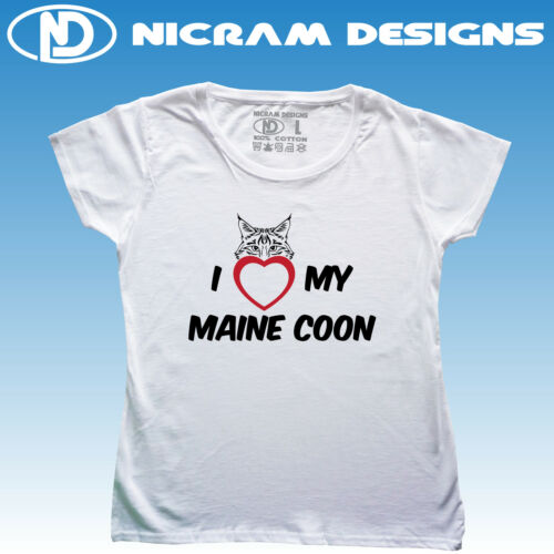 I Love My Maine Coon Cat Womens T Shirt I Heart My Maine Coon