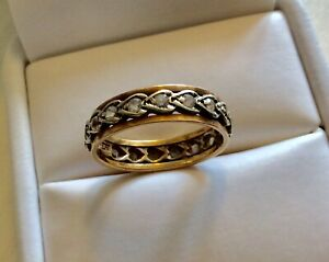 Beautiful-Ladies-Early-Vintage-Two-Coloured-9CT-Gold-amp-Spinel-Eternity-Ring-M