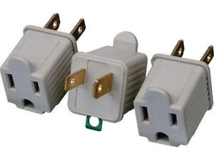 3 Ac Outlet Adapters 3 Prong Converter To 2 Blade Grounding Cheater Plug Philips Ebay