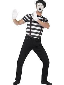 Gentleman Mime Costume, Moyennes, Adultes Déguisements Costumes, Homme-afficher Le Titre D'origine Pour Revigorer Efficacement La Santé