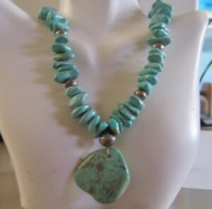 Turquoise-Nuggets-and-Large-Sterling-Beads-Free-form-Turquoise-Drop-Necklace
