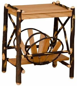Details About Rustic Hickory And Oak Magazine Rack End Table Amish Made In Usa