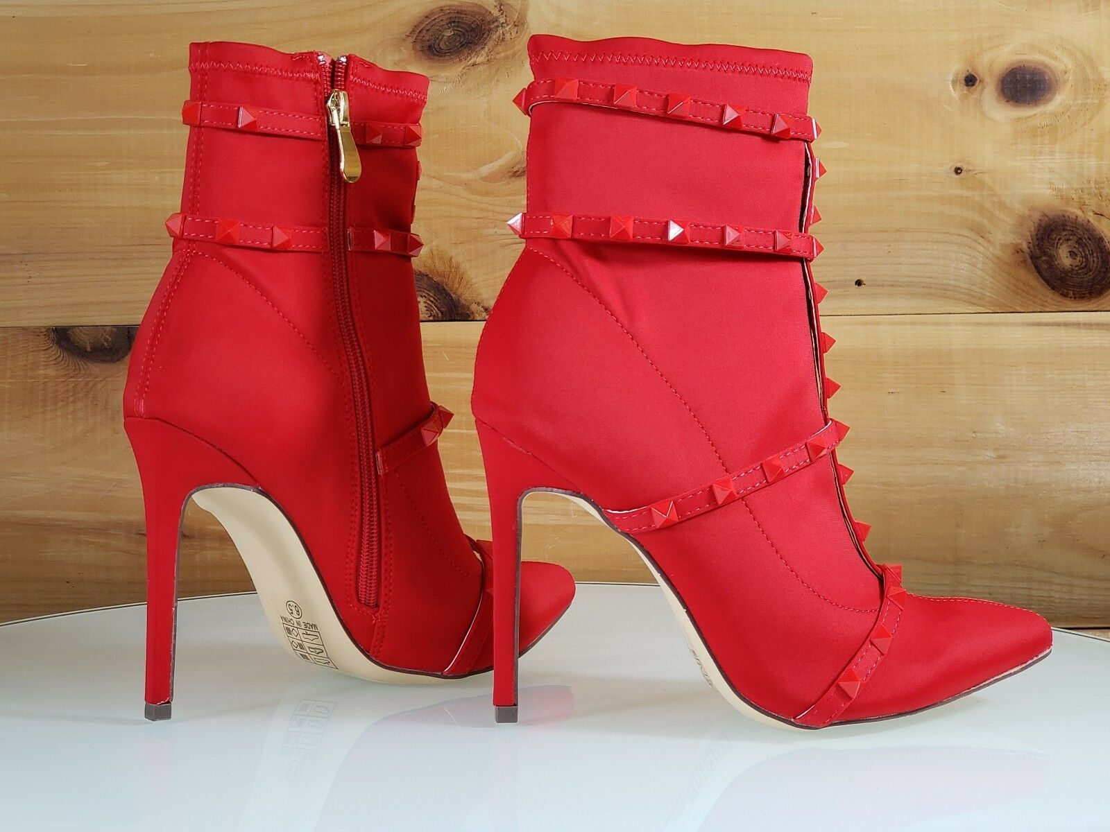 So Me Billie Red Pointy Toe High Heel Ankle Boot Cage Studded Straps 6.5-11