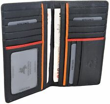 "VISCONTI Luxury Black Real Leather ""JAWS"" Long Mens Jacket Wallet BD12"
