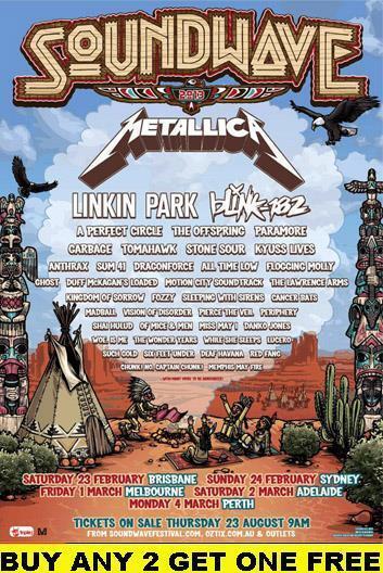 SOUNDWAVE Metallica 2013 Laminated Australian Tour Poster