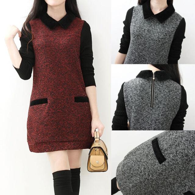 Womens Thick Winter Woolen Loose Slim Dress Bottoming Shirt Tops Stylish Dress