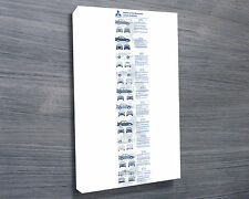 Mitsubishi Lancer EVO History 30x20 Inch Canvas - Framed Picture Evolution Range