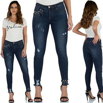 Malucas Damen Jeans High Waist Skinny Hose Röhrenjeans Röhrenhose Perlen Stretch | eBay