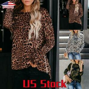 Women-Long-Sleeve-Tops-Leopard-Print-T-Shirt-Ladies-Loose-Casual-Blouse-Pullover