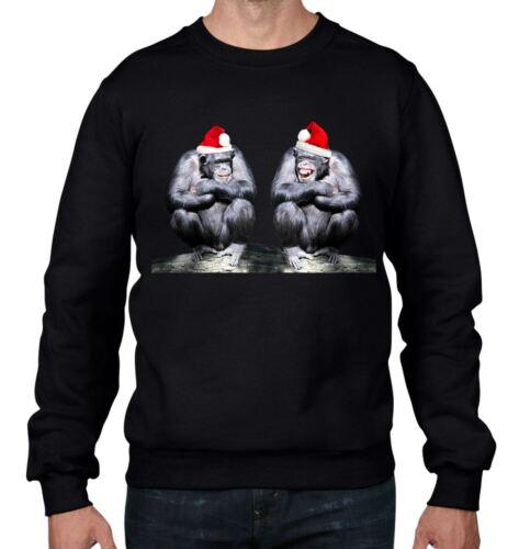 Gli scimpanzé con Babbo Natale Cappelli di Natale Uomo Felpa Maglione