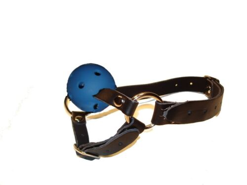 gratuita UK Consegna LEATHER BLUE BALL GAG e Chin Strap gb-05-blue