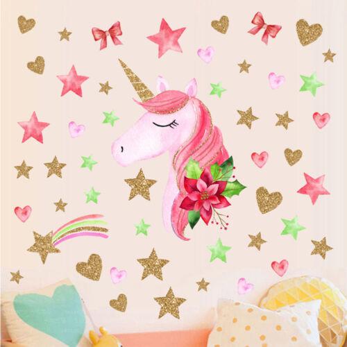 Unicorn Hearts Stars Wall Art Sticker Kids Girls Bedroom Decal Decorations Plsei