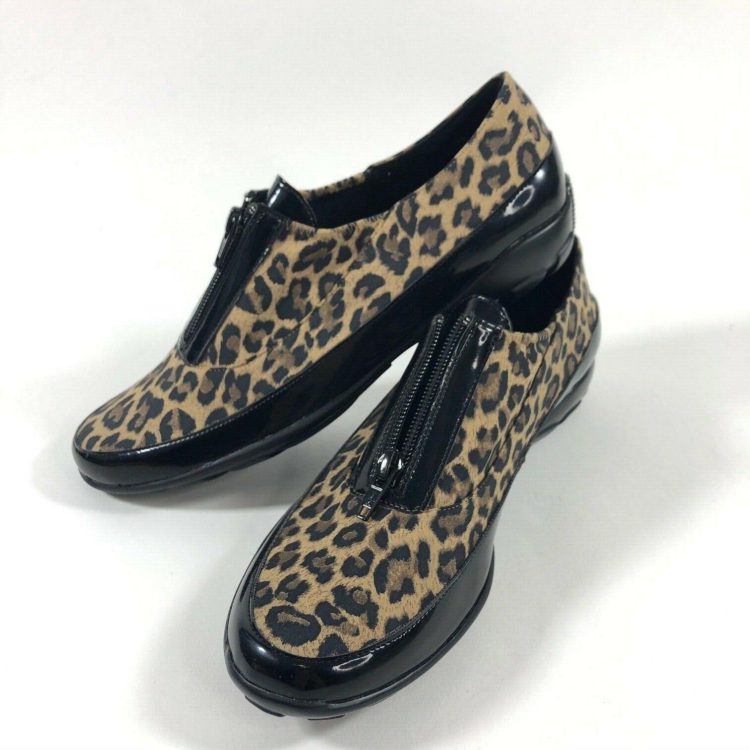 Vaneli Sport Donne Ariel Basic Textile Leopard Stampa Flats donna s 8N nero