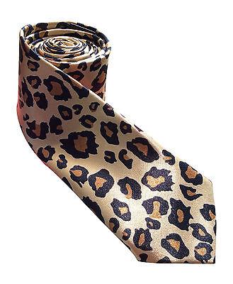 Unisex Satin Adult Novelty Skinny Tie - Leopard Animal Print