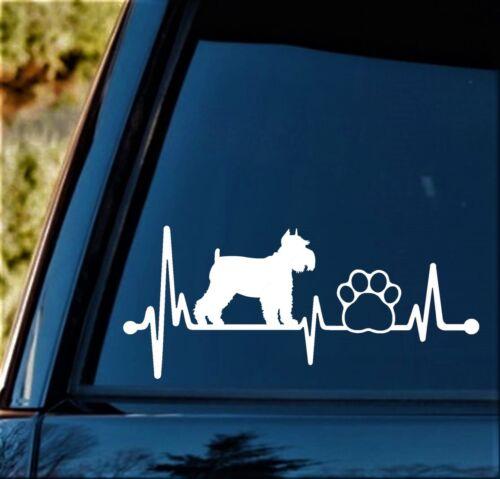 Schnauzer Heartbeat Lifeline Dog Decal Sticker for Car Window 8 Inch BG 142