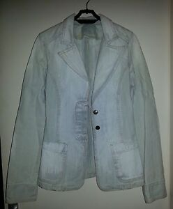 Veste-en-Jeans-Stone-Washed-ZARA-TRF-Made-in-Italy-T38-Style-tailleur