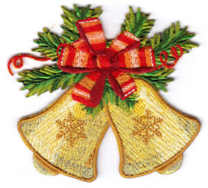 CHRISTMAS ORNAMENT EMBROIDERED IN METALLICS IRON ON PATCHES Set Of 2 SMALL