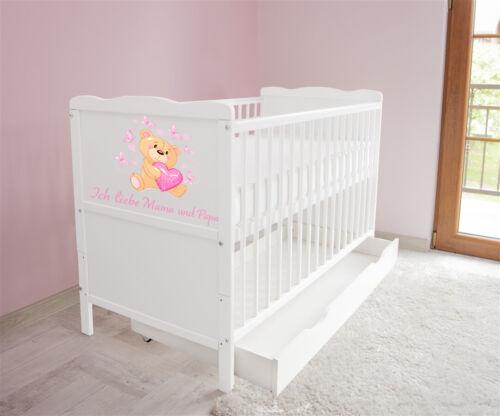 Schublade Babybett Kinderbett Juniorbett 120x60 Weiß  3x1 Matratze nr n