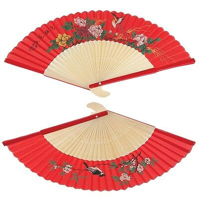dotcomgiftshop RED SILKY LADIES CHINESE BAMBOO FOLDING WOOD HAND FAN