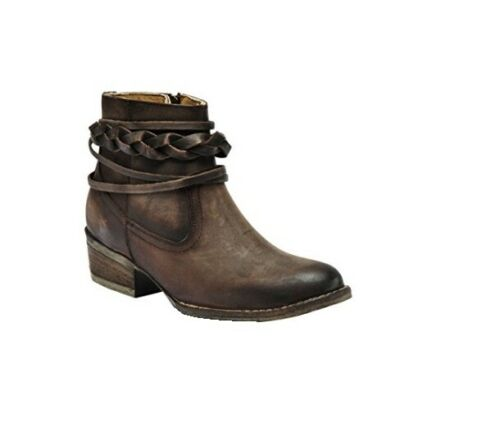 Corral Ladies Round Toe Burnished Brown Top Strappy Western Ankle Boots Q0028