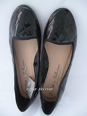 Nuevo Primark Negro Patente Look Acolchado Ballet Zapatos De Salón Negro Talla Reino Unido 3 EUR 36