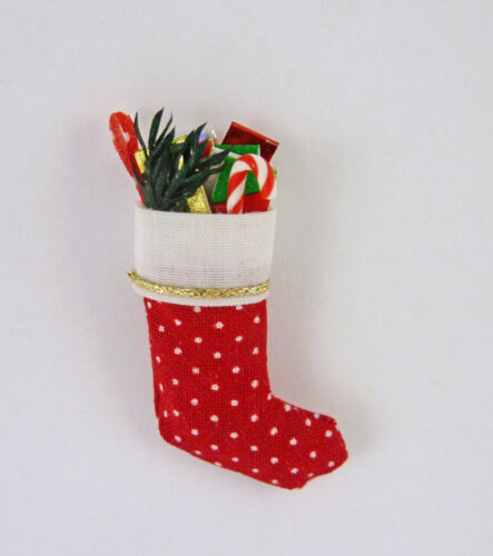 Dollhouse Miniature Artisan Fabric Holiday Christmas Stocking, Filled