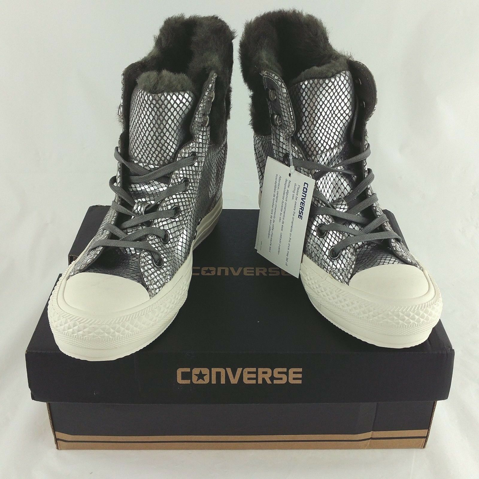 All Trainers Platform Collar Star Hi Converse Fur Plus Grey Faux IYbgvf76y
