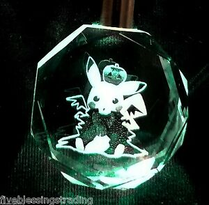 Details about Pokemon character crystal LED keychain - Eevee evolutions and  Pikachu