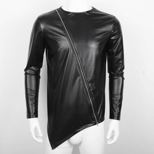 Mens Hip Hop Top Shirt Zipper Leather Irregular Long Sleeve T-shirt Top Clubwear