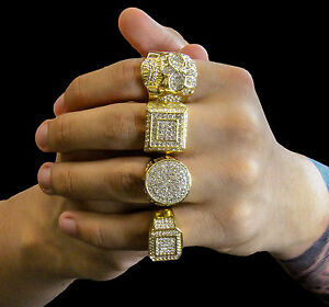 Mens 14k Gold Plated Hip Hop Iced Out Cz 4 Rings Bundle 1