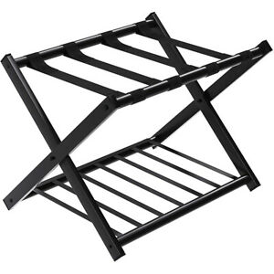 Folding Metal Luggage Rack Suitcase Shoe Holder Hotel Guestroom with Shelf Black