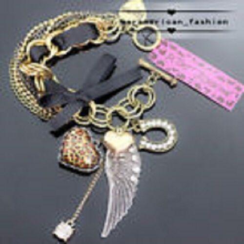 Betsey Johnson Designer Wing Leopard Heart Crystal Multi-layer Chain Bracelet