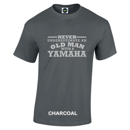 Yamaha Never Underestimate An Old Man With A t shirt Silver Logo to 5XL