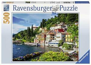 Ravensburger-Lac-Como-Italie-500pc-Jigsaw-Puzzle-mer-Buildings-maisons