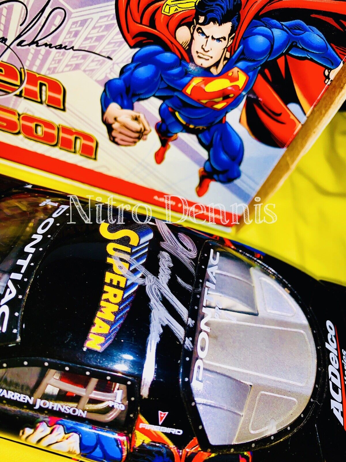 NHRA Warren Johnson SUPERMAN Pro Stock 1 24 Diecast Action Vintage Signed 1999